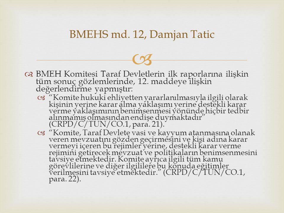   BMEH Komitesi Taraf Devletlerin ilk raporlarına ilişkin tüm sonuç gözlemlerinde, 12.