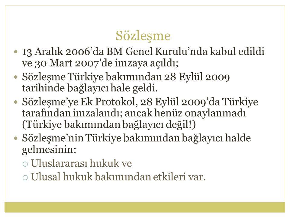 Sözleşme 13 Aralık 2006'da BM Genel Kurulu'nda kabul edildi ve 30 Mart 2007'de imzaya açıldı; Sözleşme Türkiye bakımından 28 Eylül 2009 tarihinde bağl