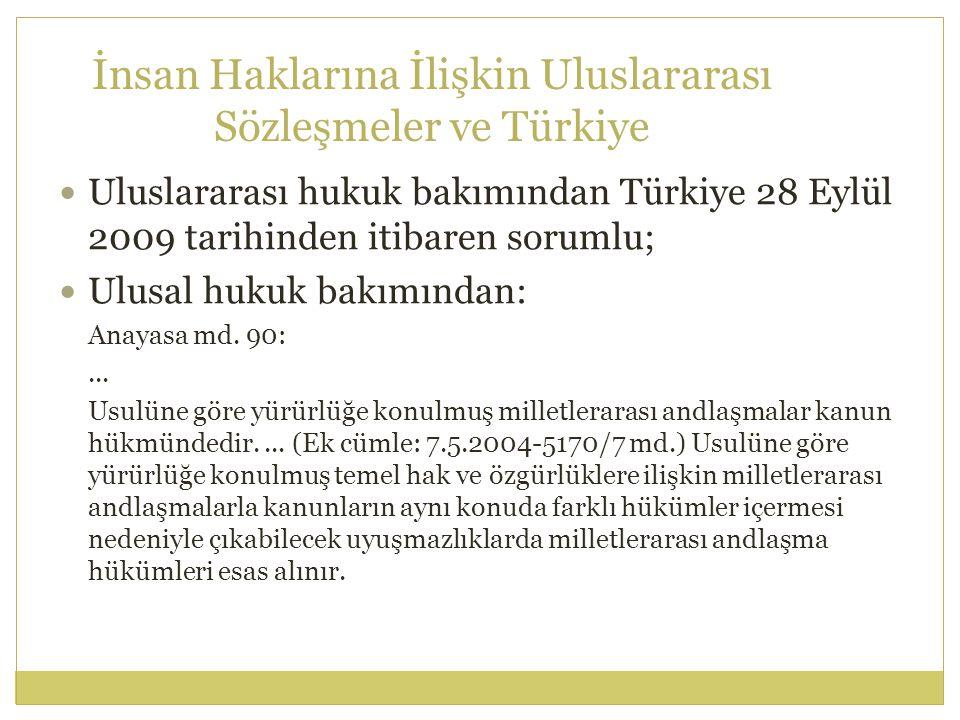 İnsan Haklarına İlişkin Uluslararası Sözleşmeler ve Türkiye Uluslararası hukuk bakımından Türkiye 28 Eylül 2009 tarihinden itibaren sorumlu; Ulusal hu