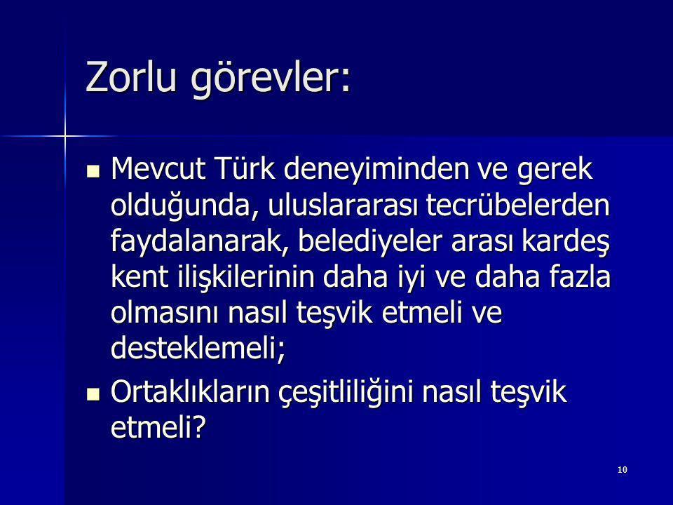 10 Zorlu görevler: Mevcut Türk deneyiminden ve gerek olduğunda, uluslararası tecrübelerden faydalanarak, belediyeler arası kardeş kent ilişkilerinin daha iyi ve daha fazla olmasını nasıl teşvik etmeli ve desteklemeli; Mevcut Türk deneyiminden ve gerek olduğunda, uluslararası tecrübelerden faydalanarak, belediyeler arası kardeş kent ilişkilerinin daha iyi ve daha fazla olmasını nasıl teşvik etmeli ve desteklemeli; Ortaklıkların çeşitliliğini nasıl teşvik etmeli.