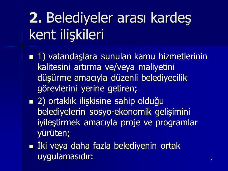 8 Türkiye'de belediyeler arası kardeş kent ilişkileri Türkiye'deki yerleşimler arasında uzun süredir varolan işbirliği uygulaması (900 Köy Hizmet Birliği, 52 Belediye Hizmet Birliği) Türkiye'deki yerleşimler arasında uzun süredir varolan işbirliği uygulaması (900 Köy Hizmet Birliği, 52 Belediye Hizmet Birliği) Klasik kamu hizmet sunumuna odaklı (su yönetimi, çevre) Klasik kamu hizmet sunumuna odaklı (su yönetimi, çevre) Belediye Hizmet Birliklerinin çok az bir oranı ekonomik ve sosyal kalkınmayı sağlamaktadır.
