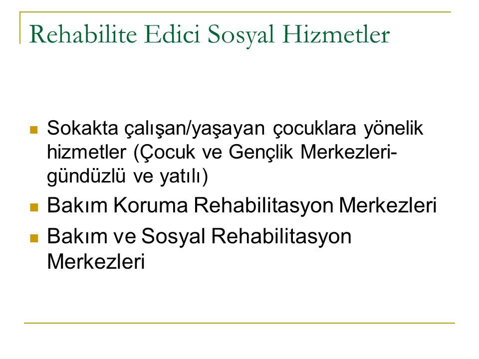 Rehabilite Edici Sosyal Hizmetler Sokakta çalışan/yaşayan çocuklara yönelik hizmetler (Çocuk ve Gençlik Merkezleri- gündüzlü ve yatılı) Bakım Koruma R