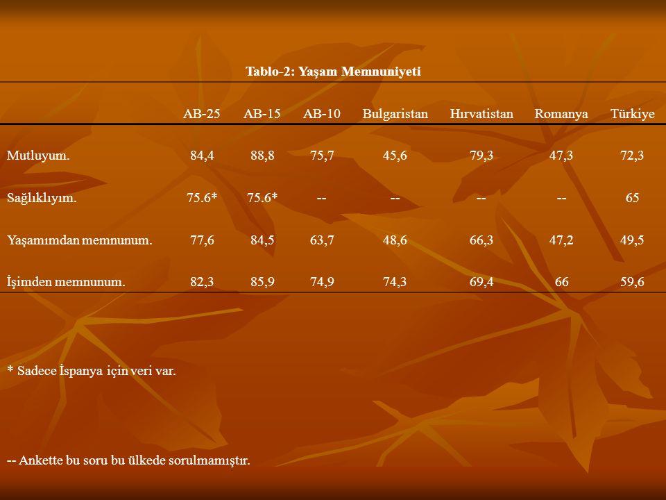 Tablo-13: Politik ve Sosyal Düşünceler AB-25AB-15AB-10 BulgaristanHırvatistanRomanyaTürkiye Politika ile ne kadar ilgilisiniz: İlgilenirim diyenlerin oranı (%) 45,443,453,349,2-- 40,2 Hem özgürlük, hem de eşitlik önemlidir.