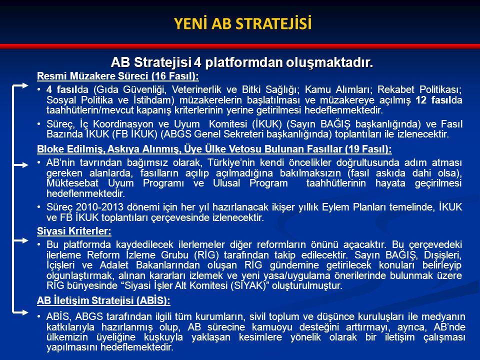 YENİ AB STRATEJİSİ AB Stratejisi 4 platformdan oluşmaktadır.