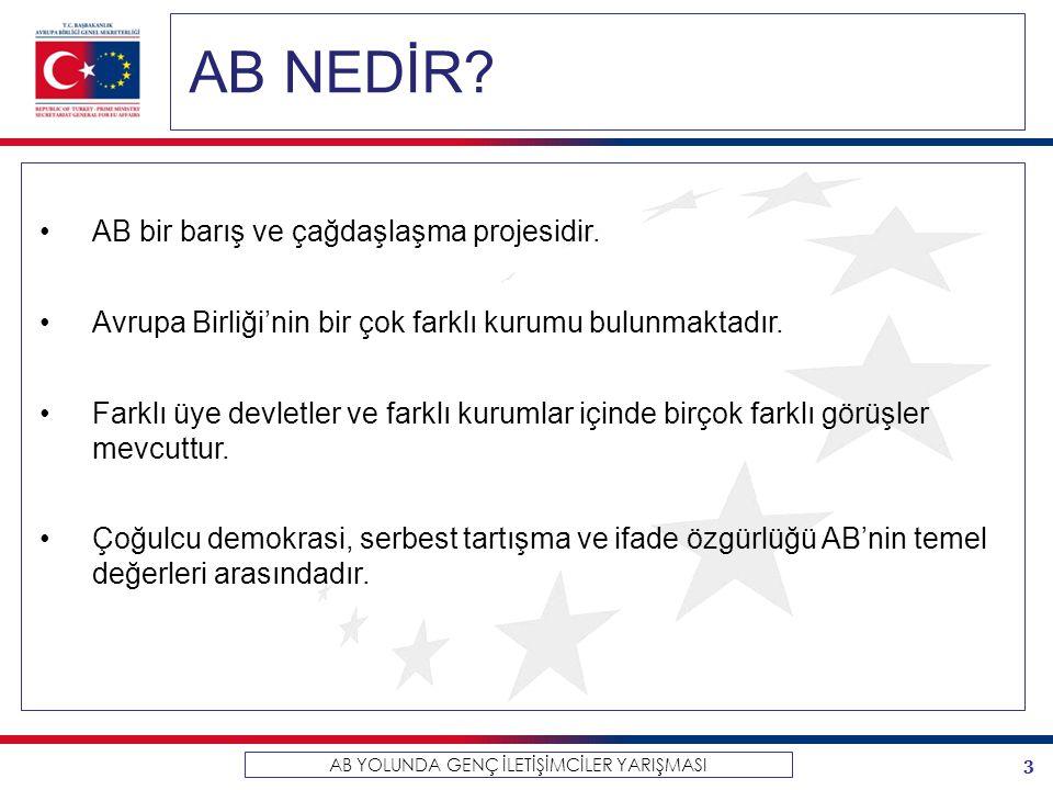 4 AB YOLUNDA GENÇ İLETİŞİMCİLER YARIŞMASI TÜRKİYE – AB İLİŞKİLERİ 1963 Türkiye ile AET arasında ortaklık ilişkisini kuran Ankara Anlaşması 1987 Türkiye'nin tam üyelik başvurusu 1996 Gümrük Birliği 1999 Helsinki Zirvesi'nde Türkiye'nin AB üyeliğine adaylığı tescillendi.