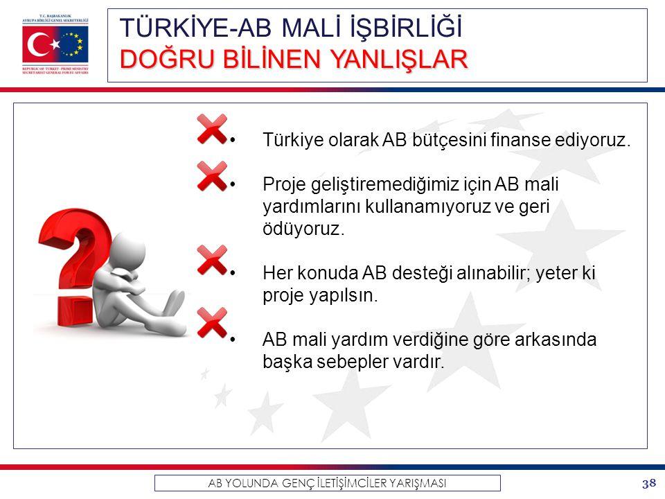 38 AB YOLUNDA GENÇ İLETİŞİMCİLER YARIŞMASI TÜRKİYE-AB MALİ İŞBİRLİĞİ DOĞRU BİLİNEN YANLIŞLAR Türkiye olarak AB bütçesini finanse ediyoruz. Proje geliş