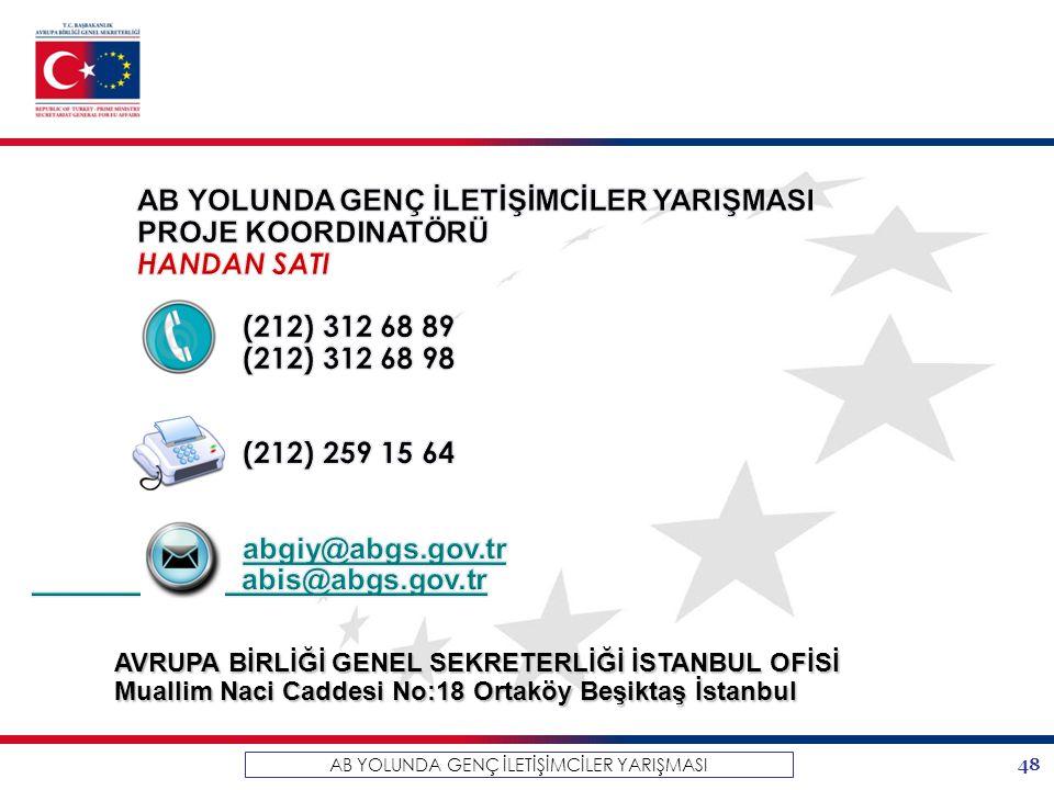 48 AB YOLUNDA GENÇ İLETİŞİMCİLER YARIŞMASI AVRUPA BİRLİĞİ GENEL SEKRETERLİĞİ İSTANBUL OFİSİ Muallim Naci Caddesi No:18 Ortaköy Beşiktaş İstanbul