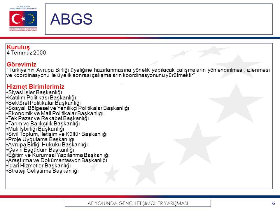 """6 AB YOLUNDA GENÇ İLETİŞİMCİLER YARIŞMASI ABGS Kuruluş 4 Temmuz 2000 Görevimiz """"Türkiye'nin Avrupa Birliği üyeliğine hazırlanmasına yönelik yapılacak"""