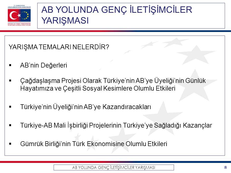 8 AB YOLUNDA GENÇ İLETİŞİMCİLER YARIŞMASI YARIŞMA TEMALARI NELERDİR?  AB'nin Değerleri  Çağdaşlaşma Projesi Olarak Türkiye'nin AB'ye Üyeliği'nin Gün