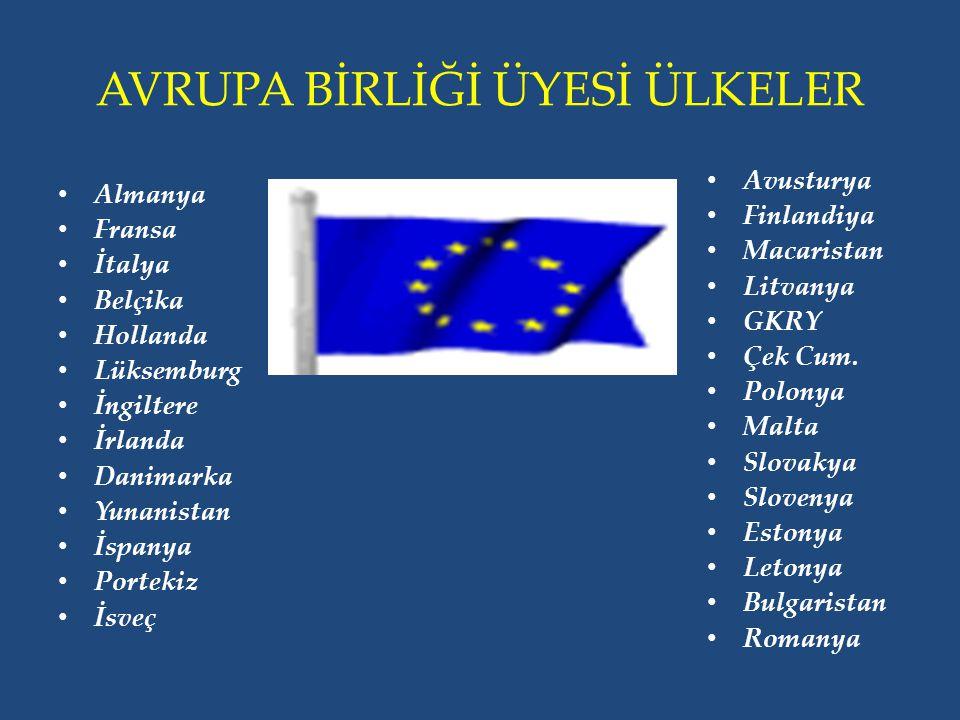 AVRUPA BİRLİĞİ ÜYESİ ÜLKELER Almanya Fransa İtalya Belçika Hollanda Lüksemburg İngiltere İrlanda Danimarka Yunanistan İspanya Portekiz İsveç Avusturya Finlandiya Macaristan Litvanya GKRY Çek Cum.