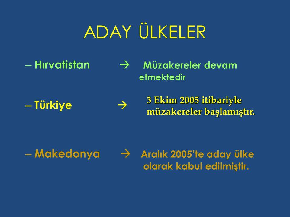ADAY ÜLKELER – Hırvatistan  Müzakereler devam etmektedir – Türkiye  – Makedonya  Aralık 2005'te aday ülke olarak kabul edilmiştir. 3 Ekim 2005 itib