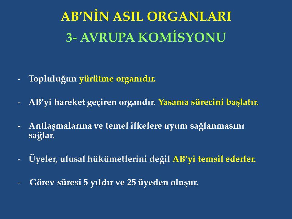 AB'NİN ASIL ORGANLARI 3- AVRUPA KOMİSYONU -Topluluğun yürütme organıdır.
