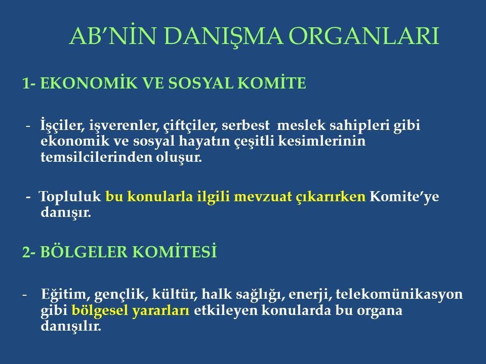 AB'NİN DANIŞMA ORGANLARI 1- EKONOMİK VE SOSYAL KOMİTE - İşçiler, işverenler, çiftçiler, serbest meslek sahipleri gibi ekonomik ve sosyal hayatın çeşitli kesimlerinin temsilcilerinden oluşur.
