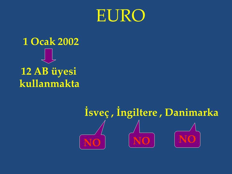 EURO 1 Ocak 2002 12 AB üyesi kullanmakta İsveç, İngiltere, Danimarka NO