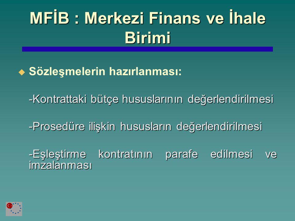 MFİB : Merkezi Finans ve İhale Birimi   Sözleşmelerin hazırlanması: -Kontrattaki bütçe hususlarının değerlendirilmesi -Prosedüre ilişkin hususların