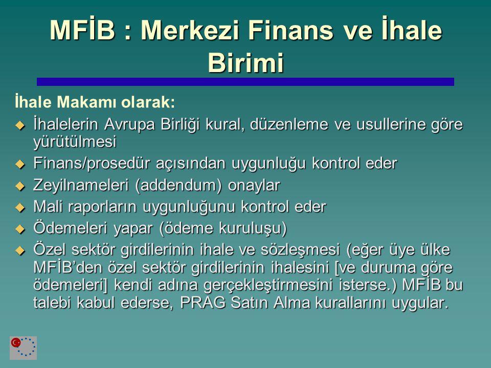 MFİB : Merkezi Finans ve İhale Birimi İhale Makamı olarak:  İhalelerin Avrupa Birliği kural, düzenleme ve usullerine göre yürütülmesi  Finans/prosed