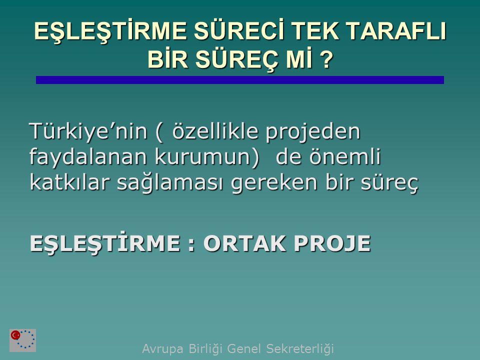 EŞLEŞTİRME SÜRECİ TEK TARAFLI BİR SÜREÇ Mİ ? Türkiye'nin ( özellikle projeden faydalanan kurumun) de önemli katkılar sağlaması gereken bir süreç EŞLEŞ