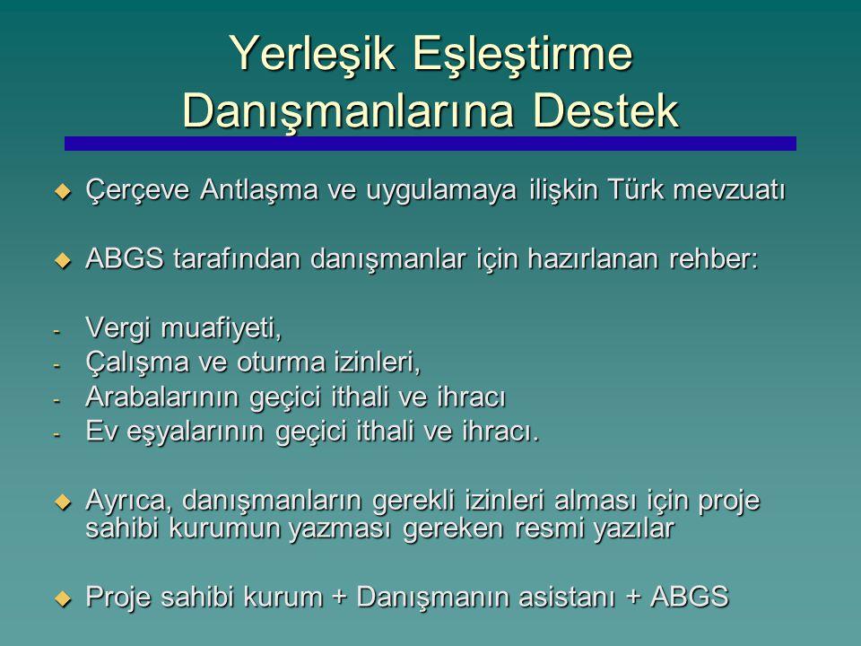 Yerleşik Eşleştirme Danışmanlarına Destek  Çerçeve Antlaşma ve uygulamaya ilişkin Türk mevzuatı  ABGS tarafından danışmanlar için hazırlanan rehber: