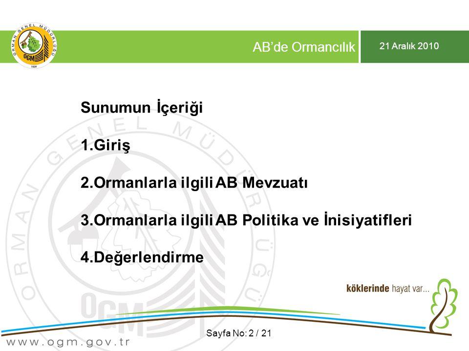21 Aralık 2010 AB'de Ormancılık Sayfa No: 3 / 21 1.Giriş AB'nin bir Orman Direktifi var mıdır.
