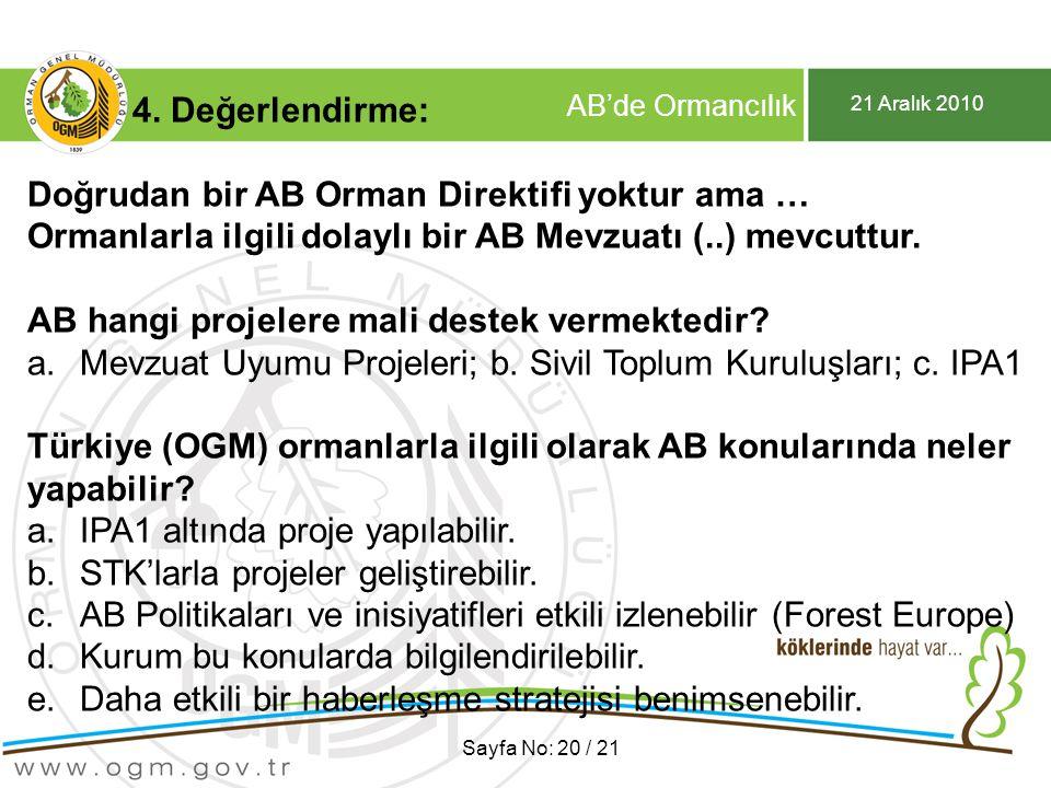 21 Aralık 2010 AB'de Ormancılık Sayfa No: 20 / 21 4. Değerlendirme: Doğrudan bir AB Orman Direktifi yoktur ama … Ormanlarla ilgili dolaylı bir AB Mevz