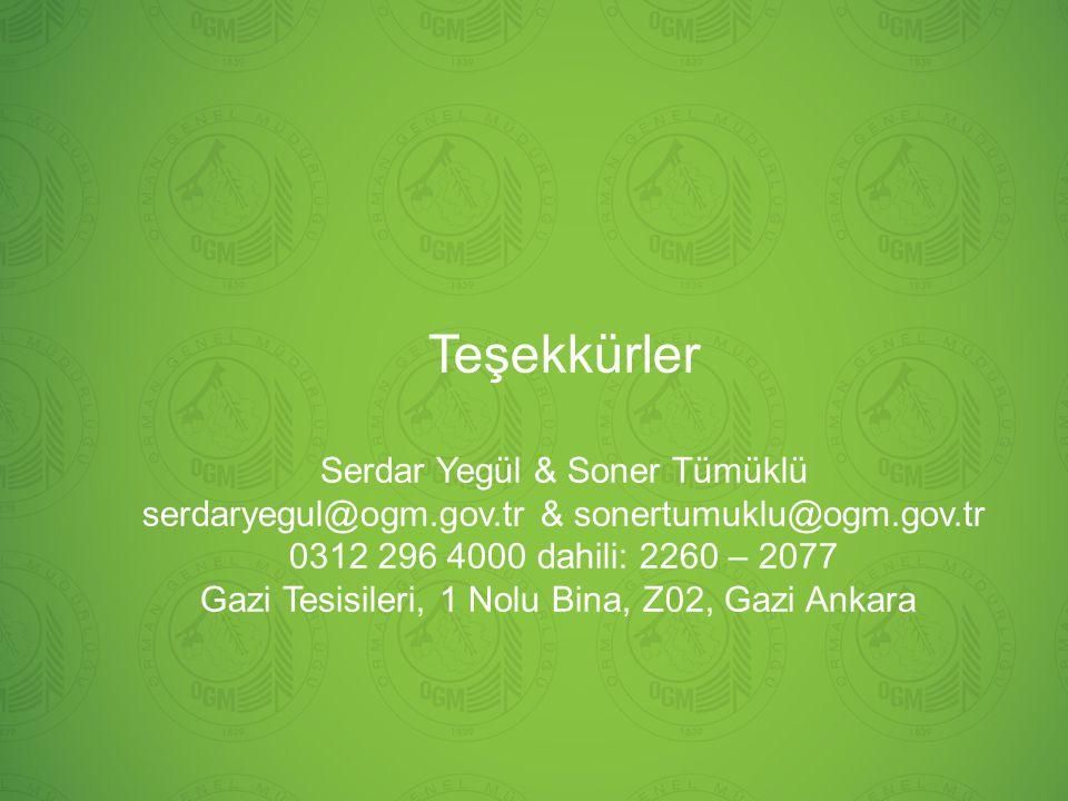 Teşekkürler Serdar Yegül & Soner Tümüklü serdaryegul@ogm.gov.tr & sonertumuklu@ogm.gov.tr 0312 296 4000 dahili: 2260 – 2077 Gazi Tesisileri, 1 Nolu Bi