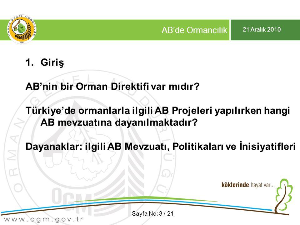 21 Aralık 2010 AB'de Ormancılık Sayfa No: 3 / 21 1.Giriş AB'nin bir Orman Direktifi var mıdır? Türkiye'de ormanlarla ilgili AB Projeleri yapılırken ha