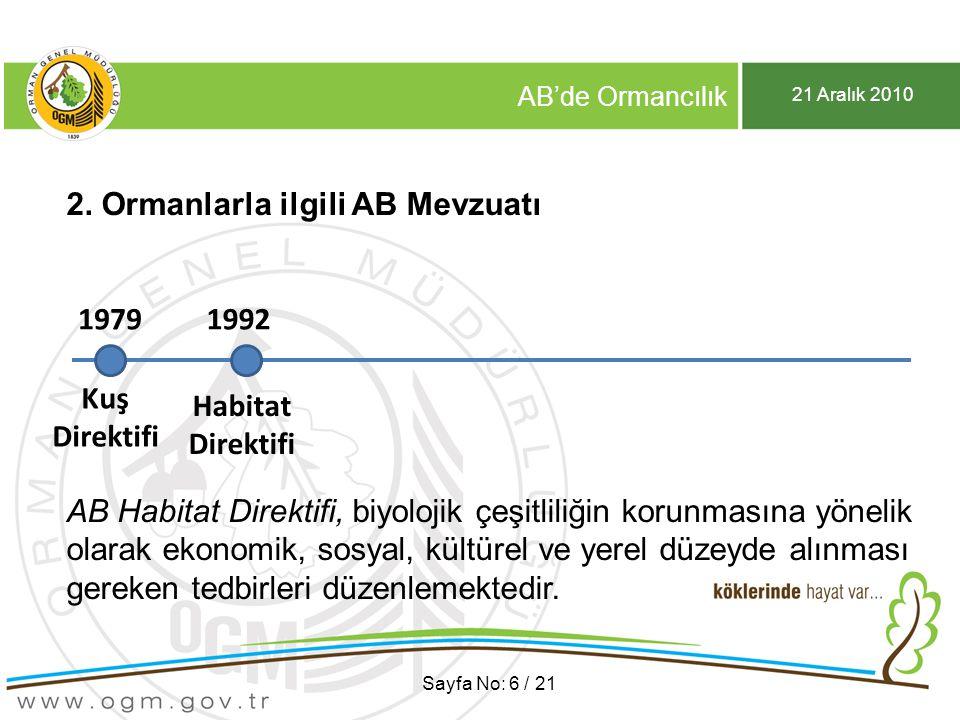 21 Aralık 2010 AB'de Ormancılık Sayfa No: 17 / 21 3.