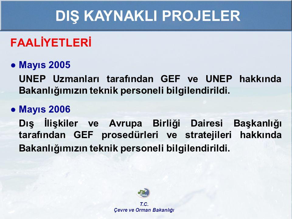 FAALİYETLERİ ● Mayıs 2005 UNEP Uzmanları tarafından GEF ve UNEP hakkında Bakanlığımızın teknik personeli bilgilendirildi. ● Mayıs 2006 Dış İlişkiler v