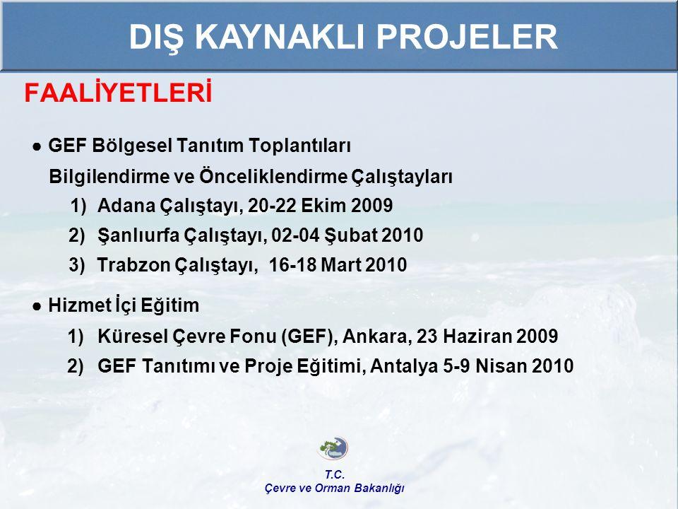 FAALİYETLERİ ● GEF Bölgesel Tanıtım Toplantıları Bilgilendirme ve Önceliklendirme Çalıştayları 1) Adana Çalıştayı, 20-22 Ekim 2009 2) Şanlıurfa Çalışt