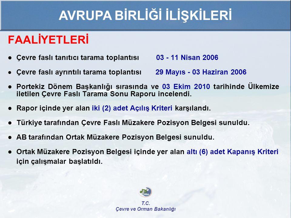 FAALİYETLERİ  Çevre faslı tanıtıcı tarama toplantısı 03 - 11 Nisan 2006  Çevre faslı ayrıntılı tarama toplantısı 29 Mayıs - 03 Haziran 2006  Portek