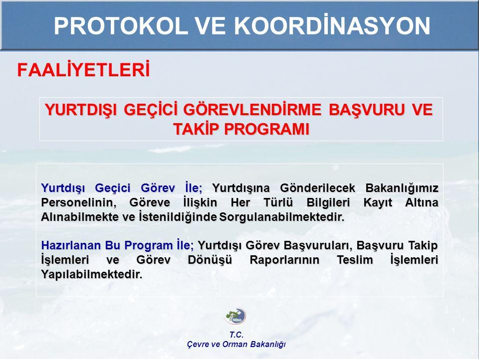 FAALİYETLERİ T.C. Çevre ve Orman Bakanlığı PROTOKOL VE KOORDİNASYON