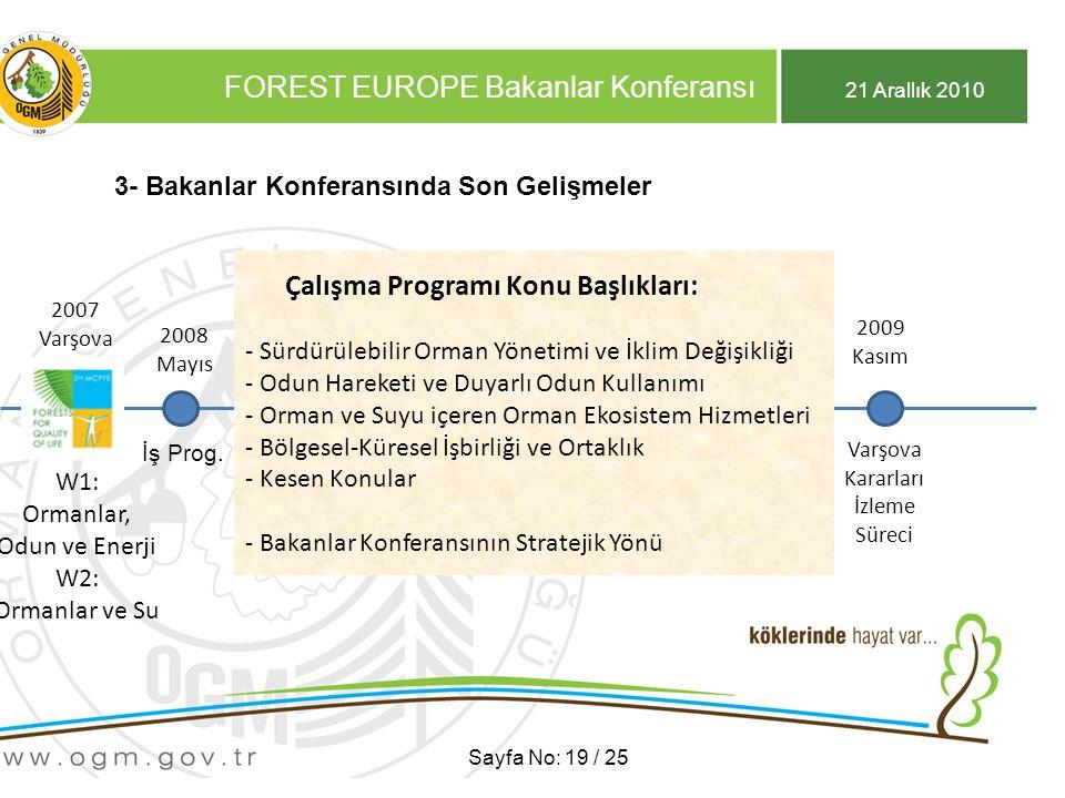 21 Arallık 2010 FOREST EUROPE Bakanlar Konferansı Sayfa No: 19 / 25 3- Bakanlar Konferansında Son Gelişmeler 2007 Varşova 2007 Varşova W1: Ormanlar, Odun ve Enerji W2: Ormanlar ve Su 2009 Kasım 2008 Mayıs İş Prog.