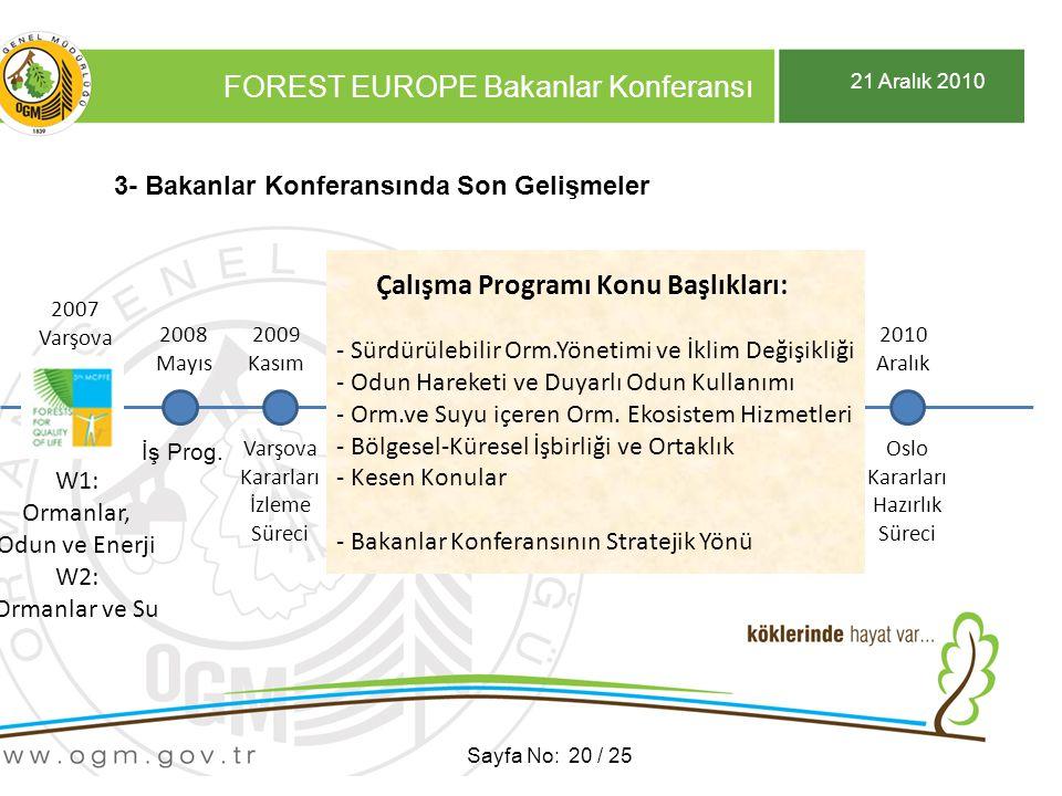 21 Aralık 2010 FOREST EUROPE Bakanlar Konferansı Sayfa No: 20 / 25 3- Bakanlar Konferansında Son Gelişmeler 2007 Varşova 2007 Varşova W1: Ormanlar, Odun ve Enerji W2: Ormanlar ve Su 2009 Kasım 2008 Mayıs İş Prog.