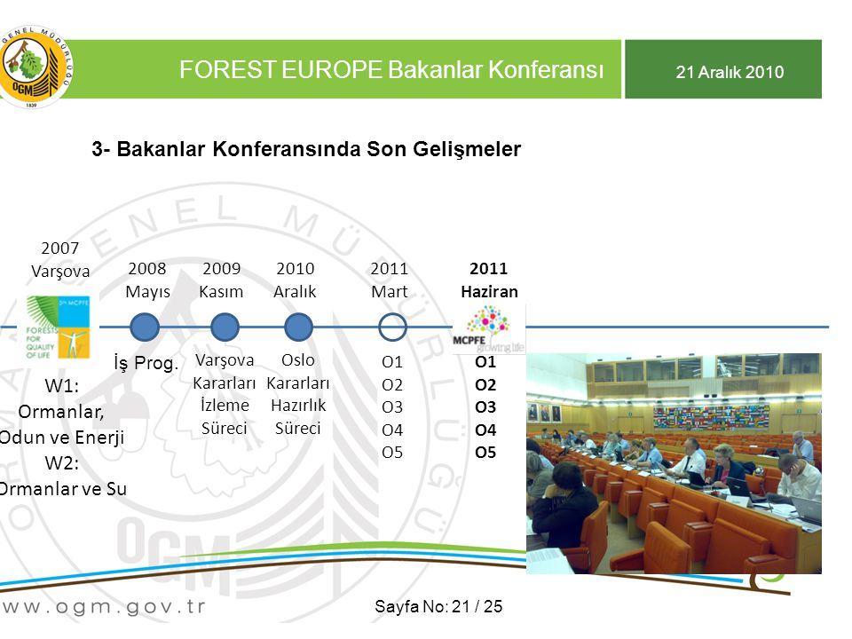 21 Aralık 2010 FOREST EUROPE Bakanlar Konferansı Sayfa No: 21 / 25 3- Bakanlar Konferansında Son Gelişmeler 2007 Varşova 2007 Varşova W1: Ormanlar, Odun ve Enerji W2: Ormanlar ve Su 2009 Kasım 2008 Mayıs İş Prog.