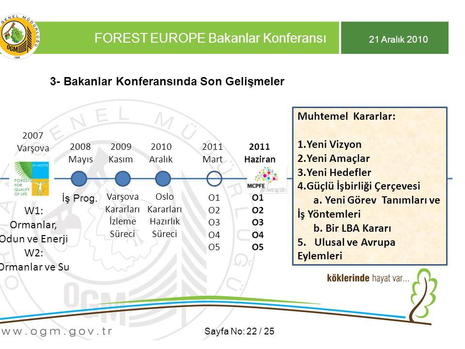 21 Aralık 2010 FOREST EUROPE Bakanlar Konferansı Sayfa No: 22 / 25 3- Bakanlar Konferansında Son Gelişmeler 2007 Varşova 2007 Varşova W1: Ormanlar, Odun ve Enerji W2: Ormanlar ve Su 2009 Kasım 2008 Mayıs İş Prog.