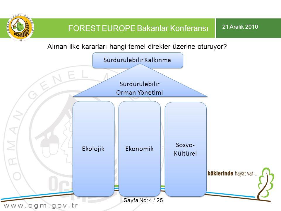 21 Aralık 2010 FOREST EUROPE Bakanlar Konferansı Sayfa No: 4 / 25 Sürdürülebilir Kalkınma Sürdürülebilir Orman Yönetimi Sürdürülebilir Orman Yönetimi Ekolojik Ekonomik Sosyo- Kültürel Alınan ilke kararları hangi temel direkler üzerine oturuyor