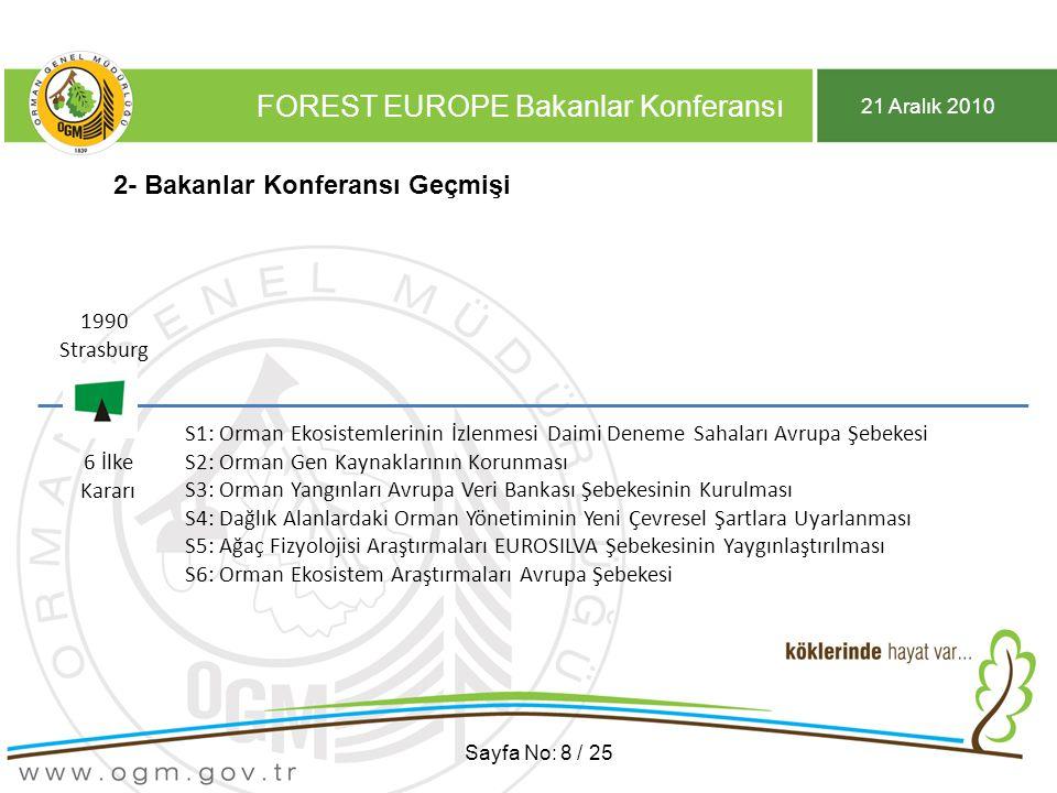 21 Aralık 2010 FOREST EUROPE Bakanlar Konferansı Sayfa No: 8 / 25 2- Bakanlar Konferansı Geçmişi 1990 Strasburg 1990 Strasburg 6 İlke Kararı S1: Orman Ekosistemlerinin İzlenmesi Daimi Deneme Sahaları Avrupa Şebekesi S2: Orman Gen Kaynaklarının Korunması S3: Orman Yangınları Avrupa Veri Bankası Şebekesinin Kurulması S4: Dağlık Alanlardaki Orman Yönetiminin Yeni Çevresel Şartlara Uyarlanması S5: Ağaç Fizyolojisi Araştırmaları EUROSILVA Şebekesinin Yaygınlaştırılması S6: Orman Ekosistem Araştırmaları Avrupa Şebekesi