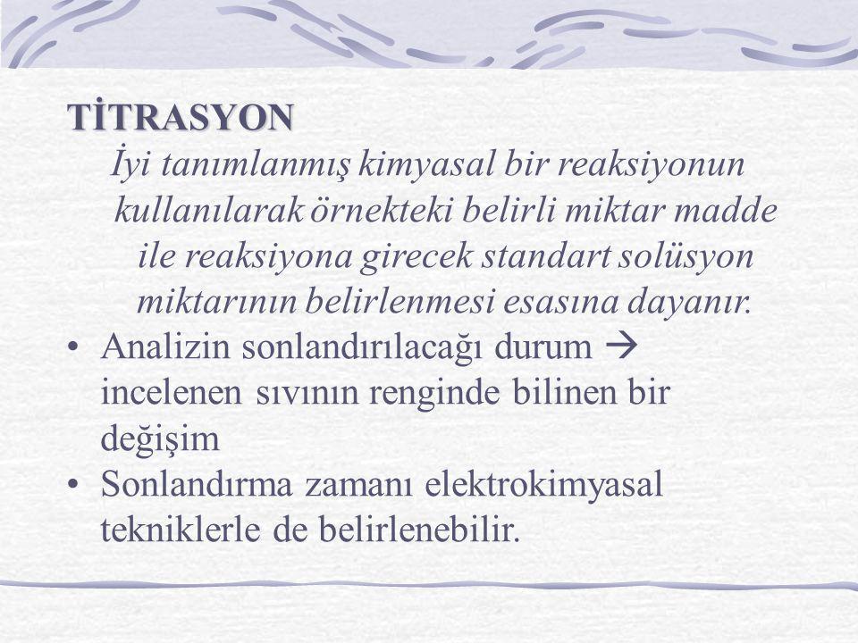 TİTRASYON İyi tanımlanmış kimyasal bir reaksiyonun kullanılarak örnekteki belirli miktar madde ile reaksiyona girecek standart solüsyon miktarının bel