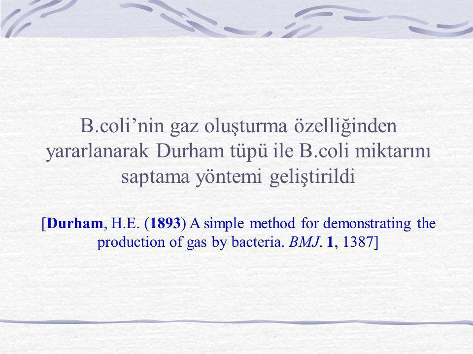 B.coli'nin gaz oluşturma özelliğinden yararlanarak Durham tüpü ile B.coli miktarını saptama yöntemi geliştirildi [Durham, H.E. (1893) A simple method