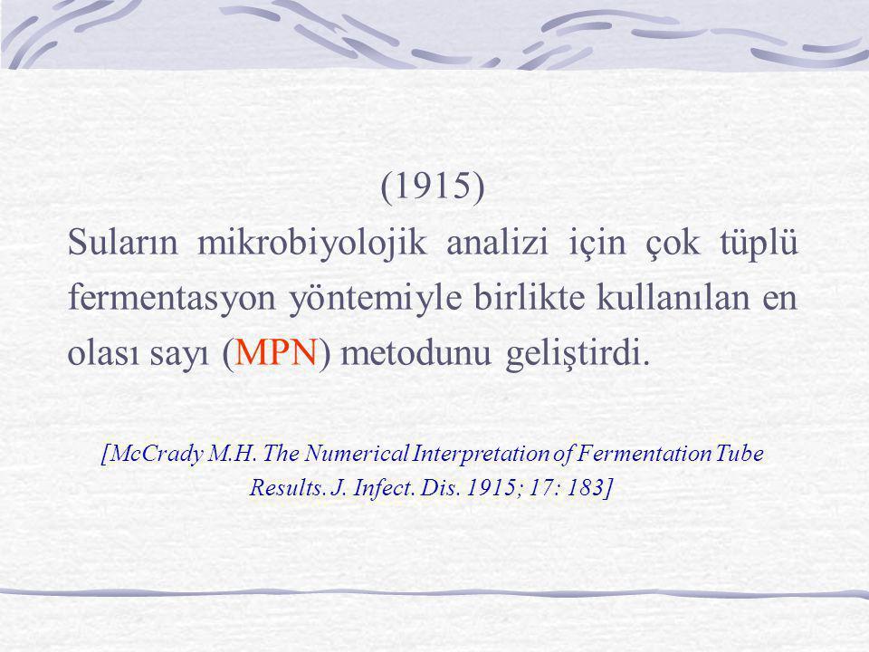 (1915) Suların mikrobiyolojik analizi için çok tüplü fermentasyon yöntemiyle birlikte kullanılan en olası sayı (MPN) metodunu geliştirdi. [McCrady M.H