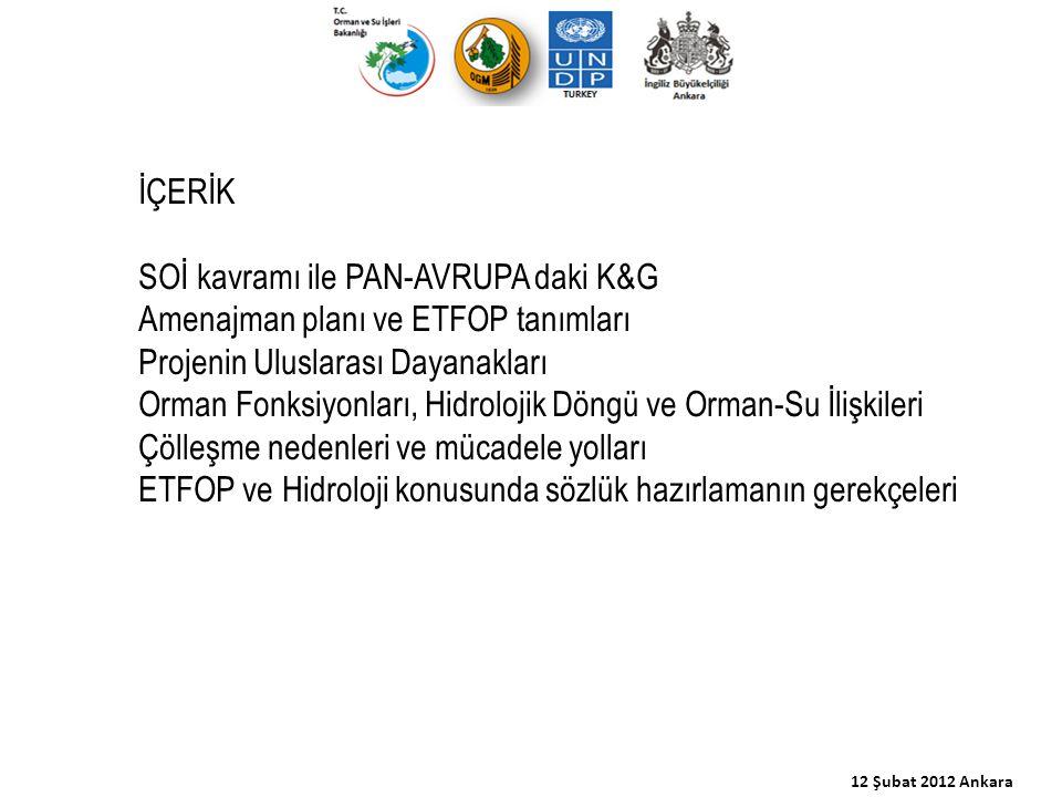 12 Şubat 2012 Ankara İÇERİK SOİ kavramı ile PAN-AVRUPA daki K&G Amenajman planı ve ETFOP tanımları Projenin Uluslarası Dayanakları Orman Fonksiyonları