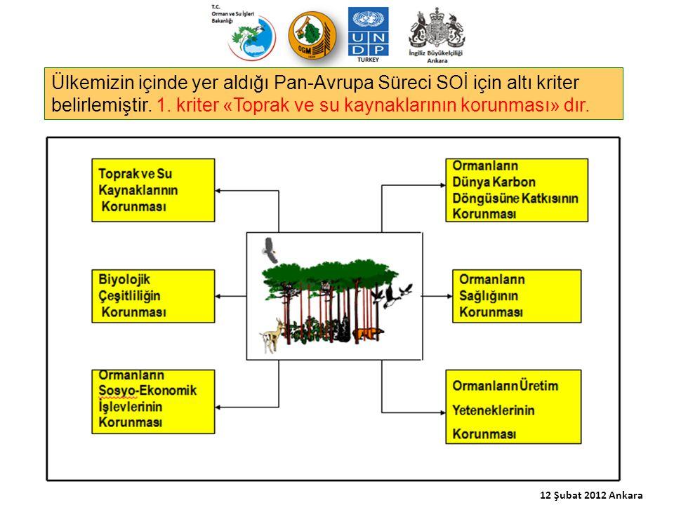 Ülkemizin içinde yer aldığı Pan-Avrupa Süreci SOİ için altı kriter belirlemiştir. 1. kriter «Toprak ve su kaynaklarının korunması» dır. 12 Şubat 2012