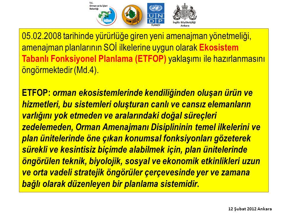 05.02.2008 tarihinde yürürlüğe giren yeni amenajman yönetmeliği, amenajman planlarının SOİ ilkelerine uygun olarak Ekosistem Tabanlı Fonksiyonel Planl