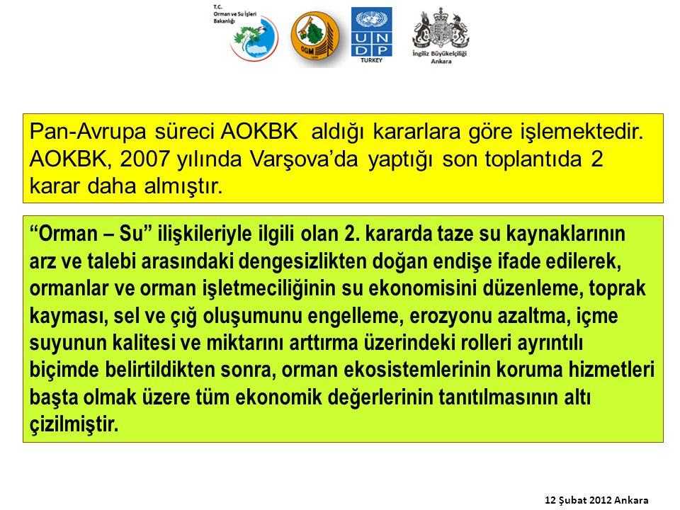 """Pan-Avrupa süreci AOKBK aldığı kararlara göre işlemektedir. AOKBK, 2007 yılında Varşova'da yaptığı son toplantıda 2 karar daha almıştır. """"Orman – Su"""""""