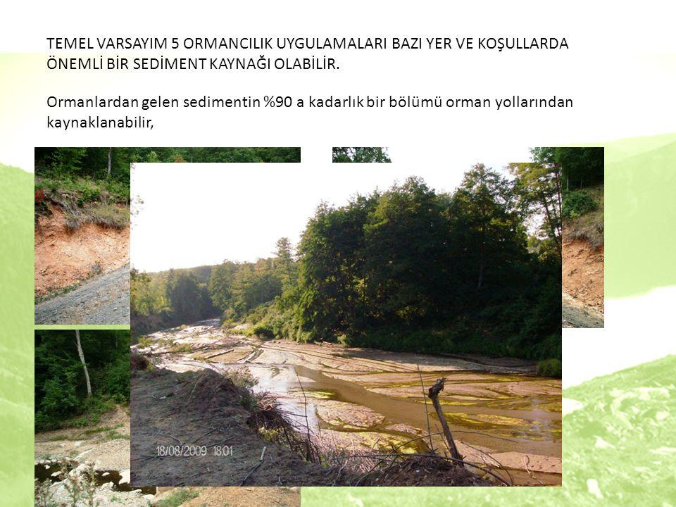 Ormanlardan gelen sedimentin %90 a kadarlık bir bölümü orman yollarından kaynaklanabilir, TEMEL VARSAYIM 5 ORMANCILIK UYGULAMALARI BAZI YER VE KOŞULLARDA ÖNEMLİ BİR SEDİMENT KAYNAĞI OLABİLİR.