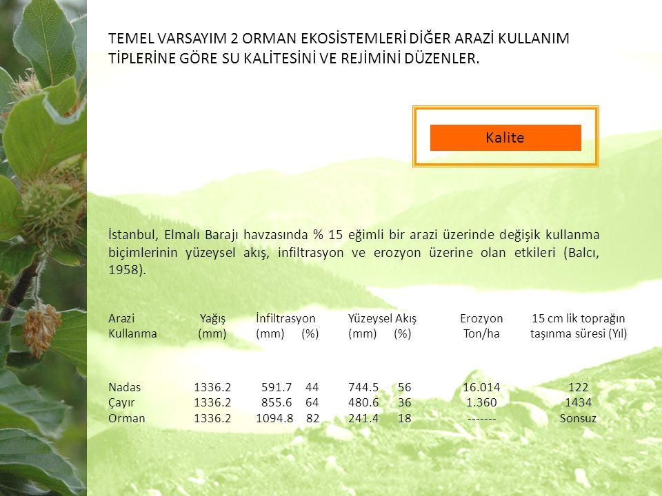 Kalite İstanbul, Elmalı Barajı havzasında % 15 eğimli bir arazi üzerinde değişik kullanma biçimlerinin yüzeysel akış, infiltrasyon ve erozyon üzerine olan etkileri (Balcı, 1958).