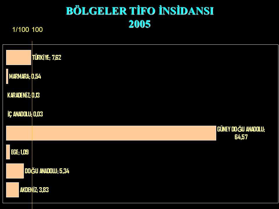 BÖLGELER TİFO İNSİDANSI 2005 1/100 100