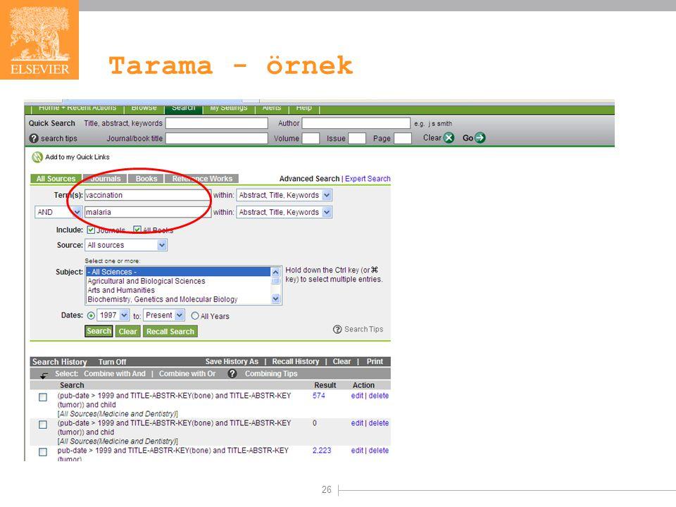 26 Tarama - örnek