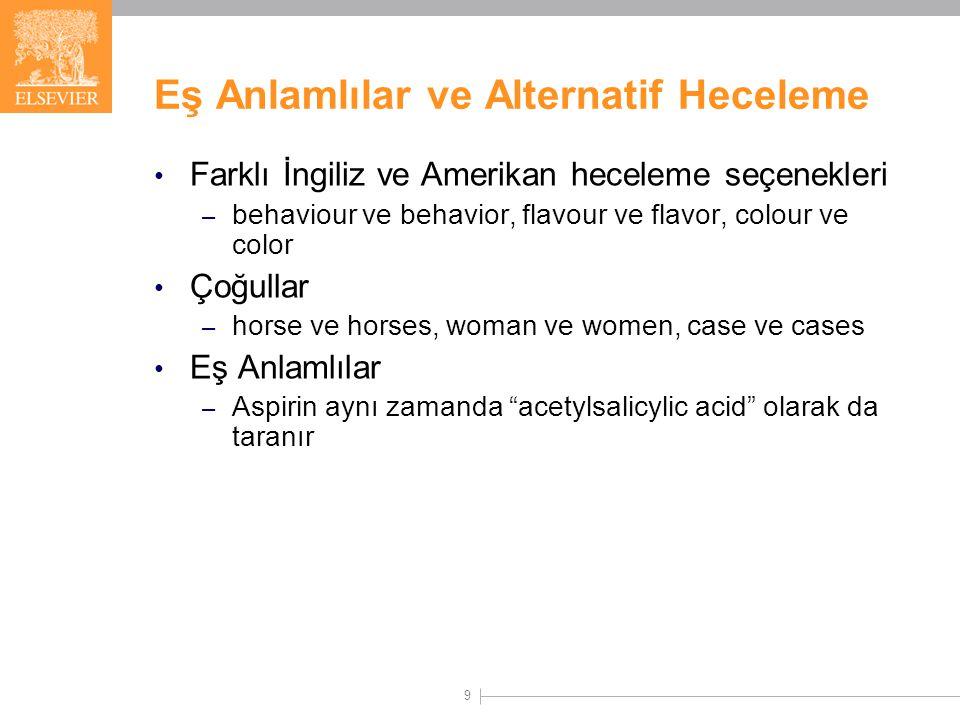 9 Eş Anlamlılar ve Alternatif Heceleme Farklı İngiliz ve Amerikan heceleme seçenekleri – behaviour ve behavior, flavour ve flavor, colour ve color Çoğullar – horse ve horses, woman ve women, case ve cases Eş Anlamlılar – Aspirin aynı zamanda acetylsalicylic acid olarak da taranır
