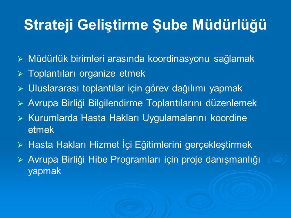  Müdürlük birimleri arasında koordinasyonu sağlamak  Toplantıları organize etmek  Uluslararası toplantılar için görev dağılımı yapmak  Avrupa Birl